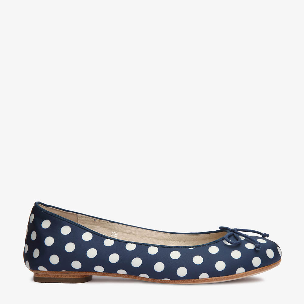 Tina Navy & White Polka Dot Satin Ballet Side View