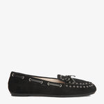 Bella Black Suede Loafer side view