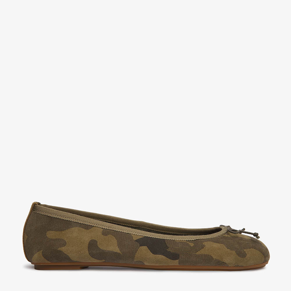 Natalie Camo Suede Ballet Close Up