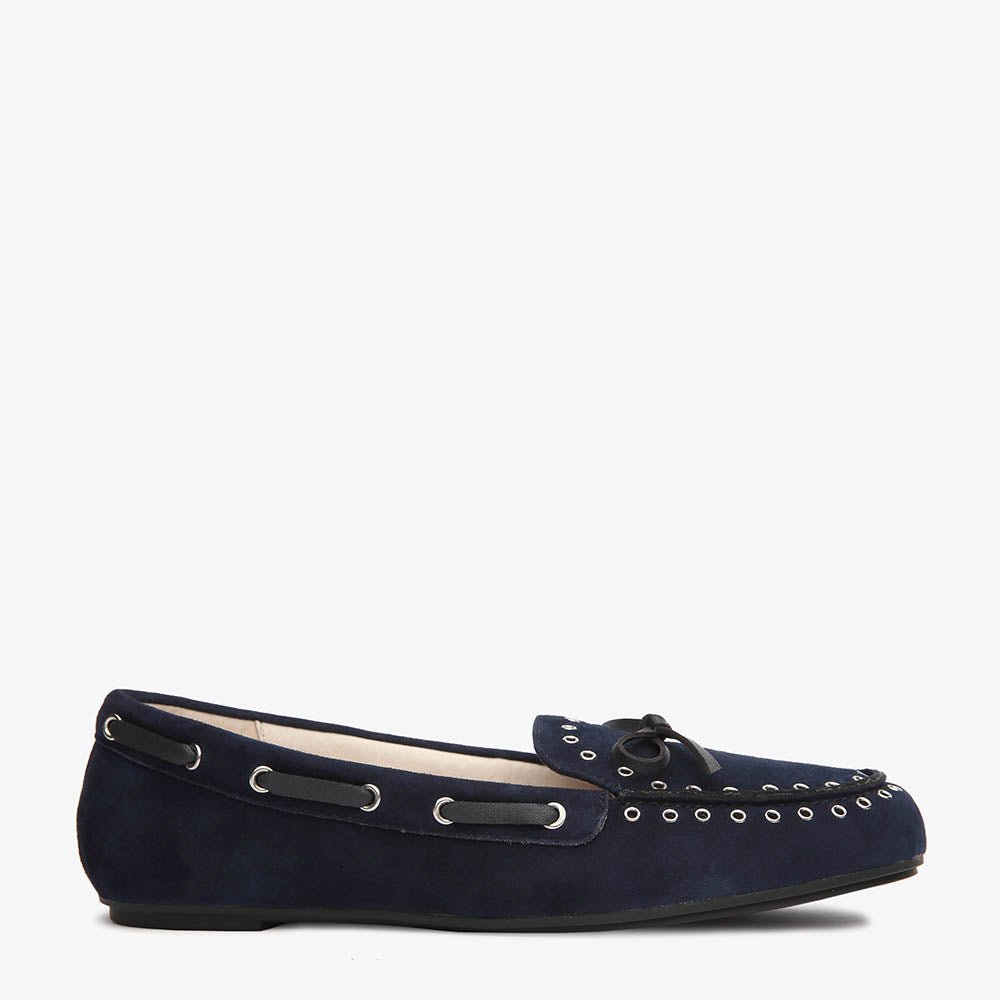 Bella Navy Suede Loafer side view