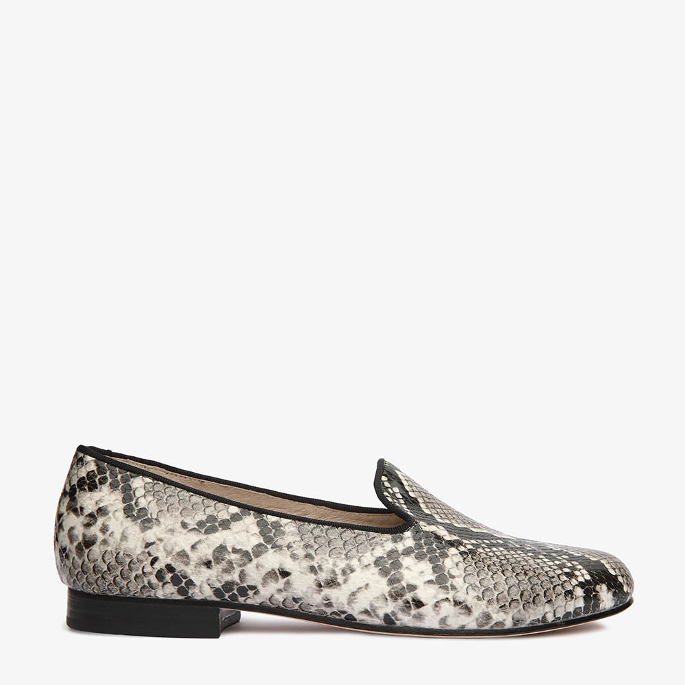 Lola Black & White Snake Loafer Close Up