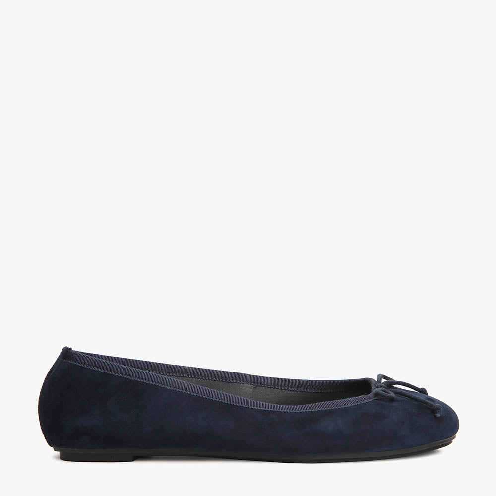 Natalie Navy Suede Ballet Close Up