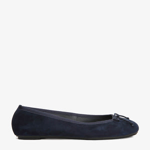 Natalie Navy Suede Ballet Side View