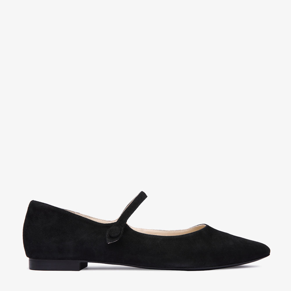 Stella Black Suede Point Shoe with Strap