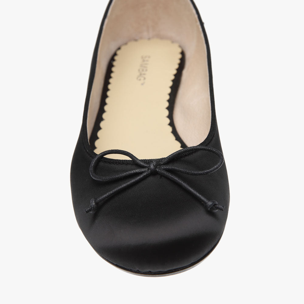 Tina Black Satin Ballet Shoe