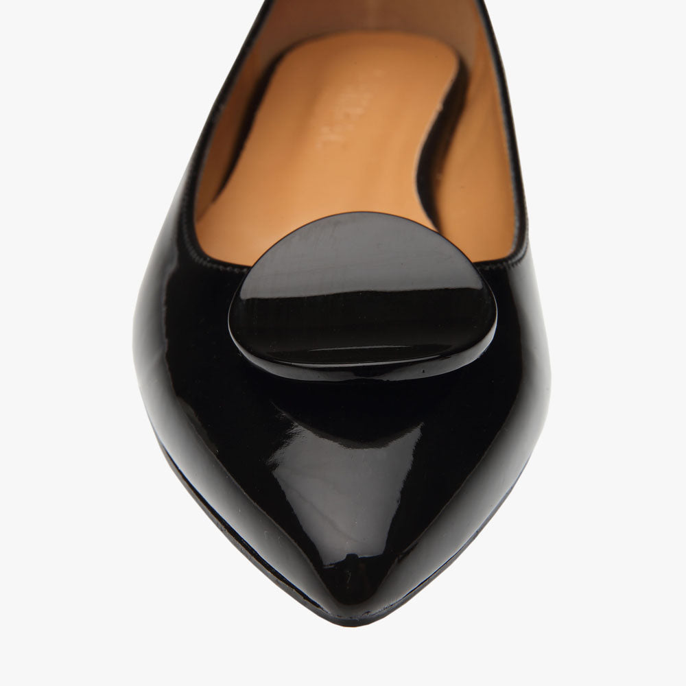 Elle Black Patent Vegan Leather Flat