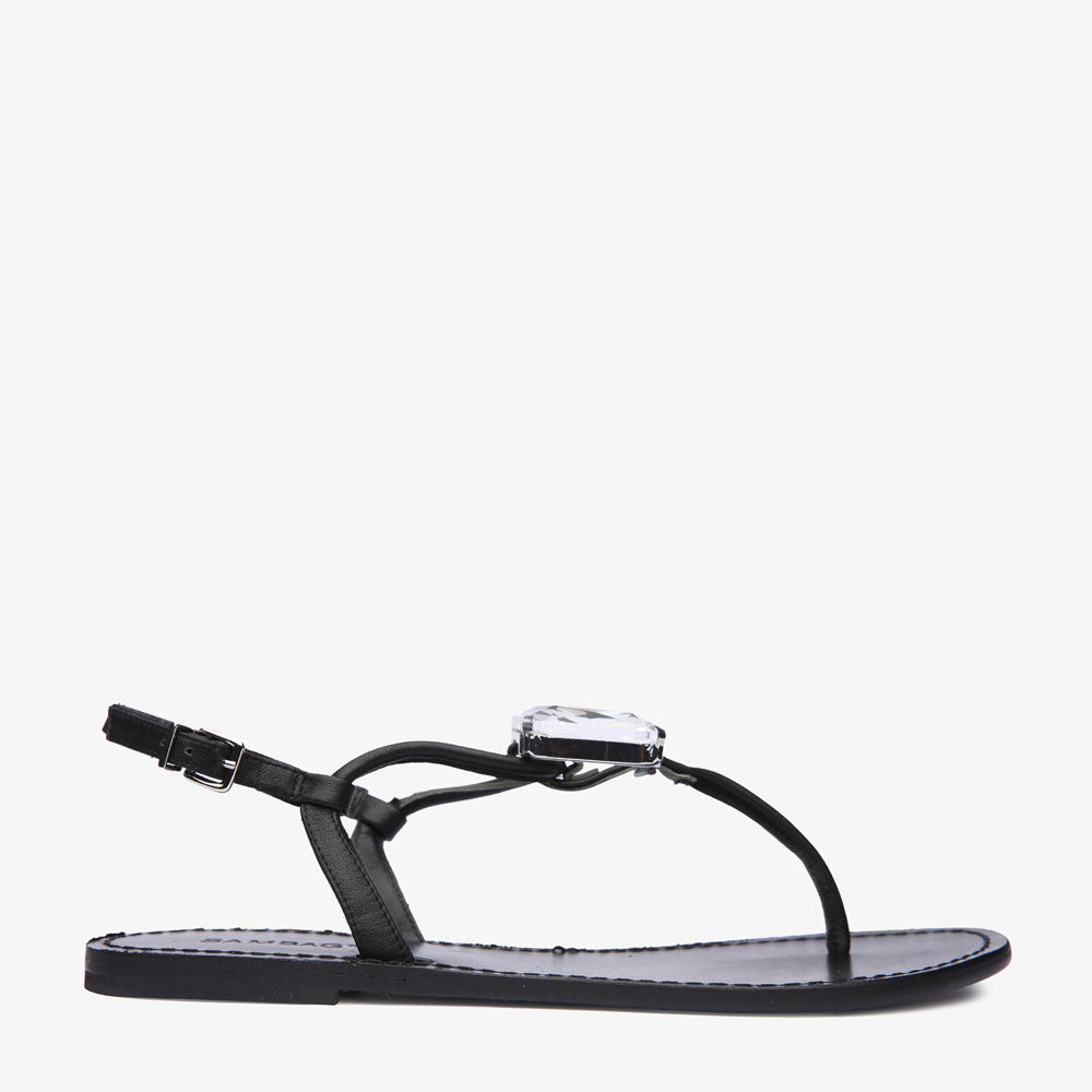 Heidi Black Leather Sandal with Diamonte Stone Centre