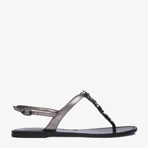 Heidi Pewter Sandal with Bee Detail