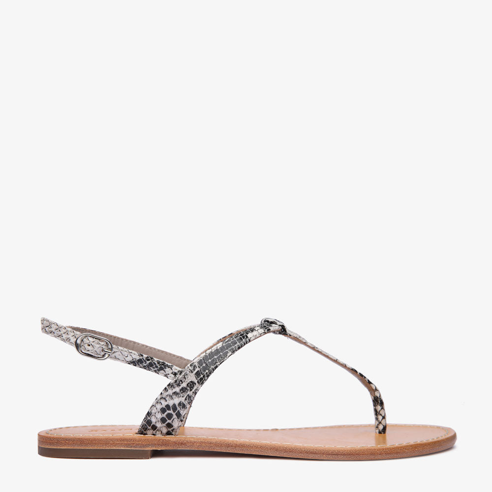 Heidi Python Snake Embossed Leather Sandal