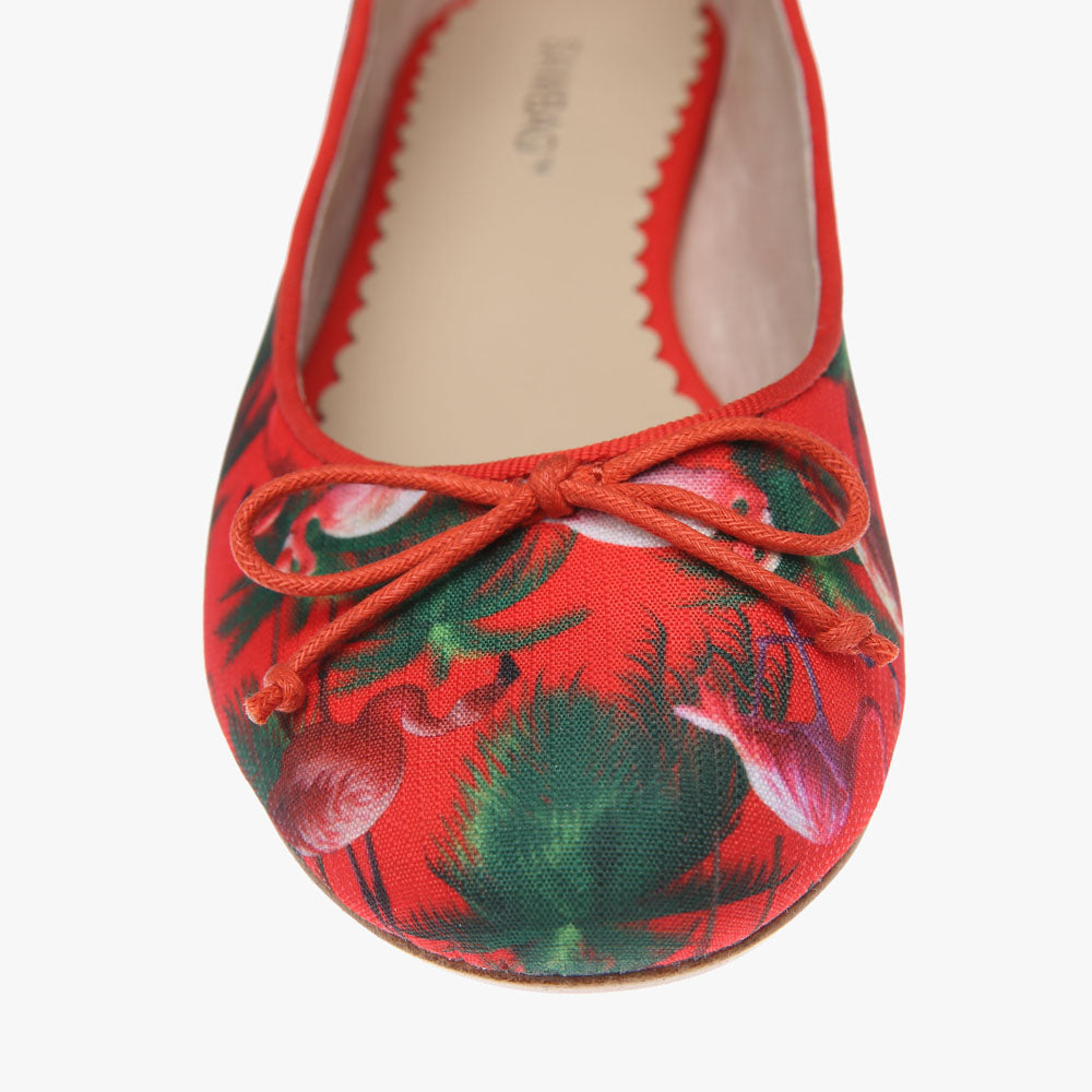 Tina Red Flamingo Print Ballet