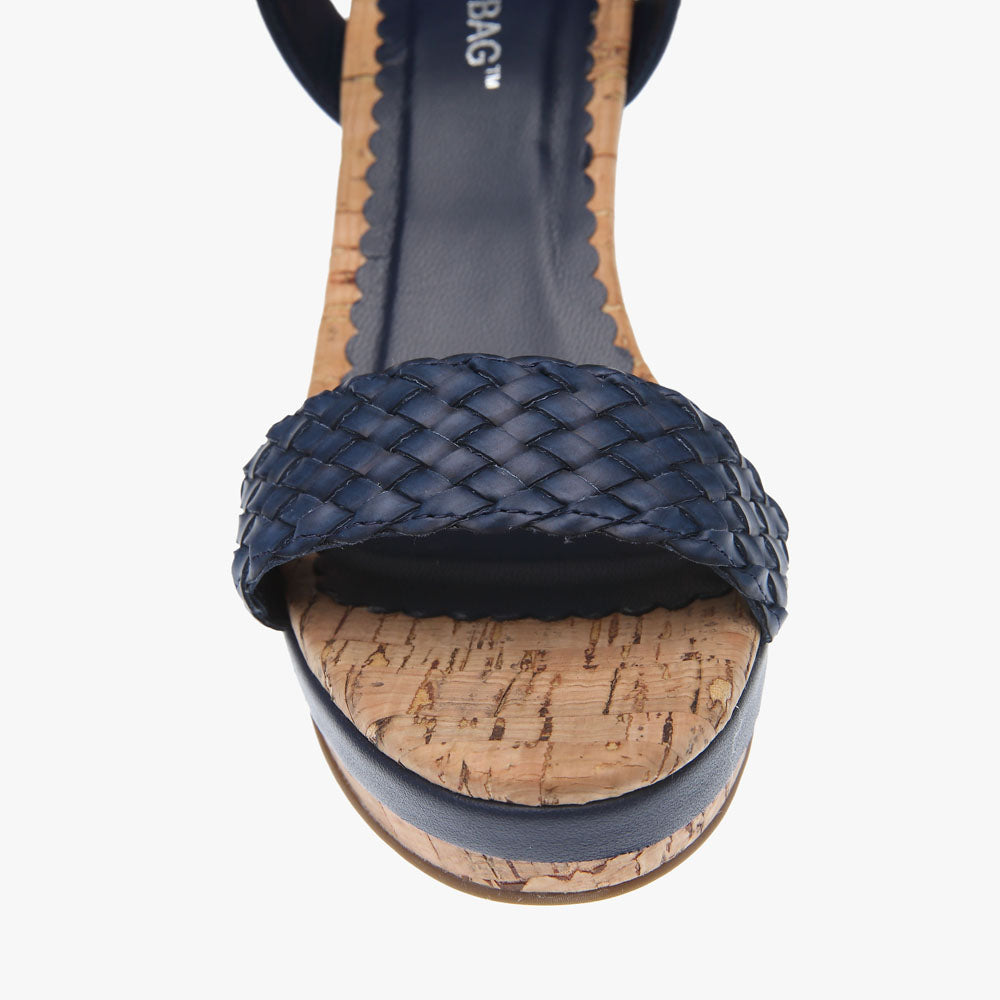 Erica Navy Woven Leather Wedge