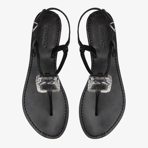 Heidi Black Leather Sandal with Diamonte Detail Sample - 38