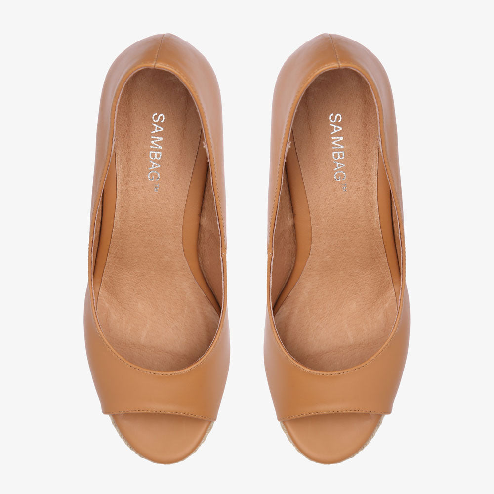 Emilla Tan Leather Espadrille Wedge