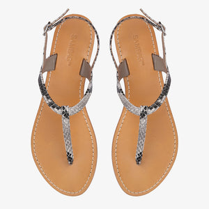 Heidi Python Embossed Leather Sandal Sample 38