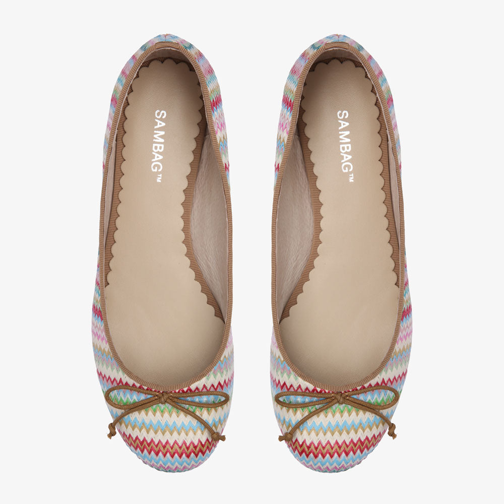 Tina Coloured Straw Ballet Flat