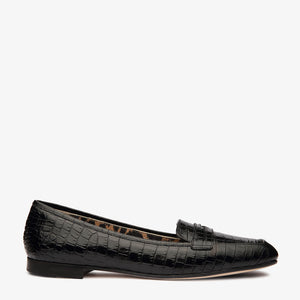 Alison Black Croc Embossed Leather Loafer