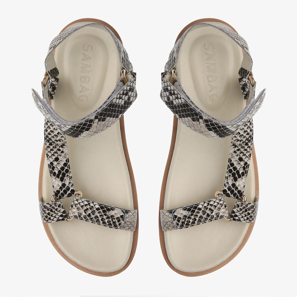 Coco Black & White Snake embossed Leather Sandal
