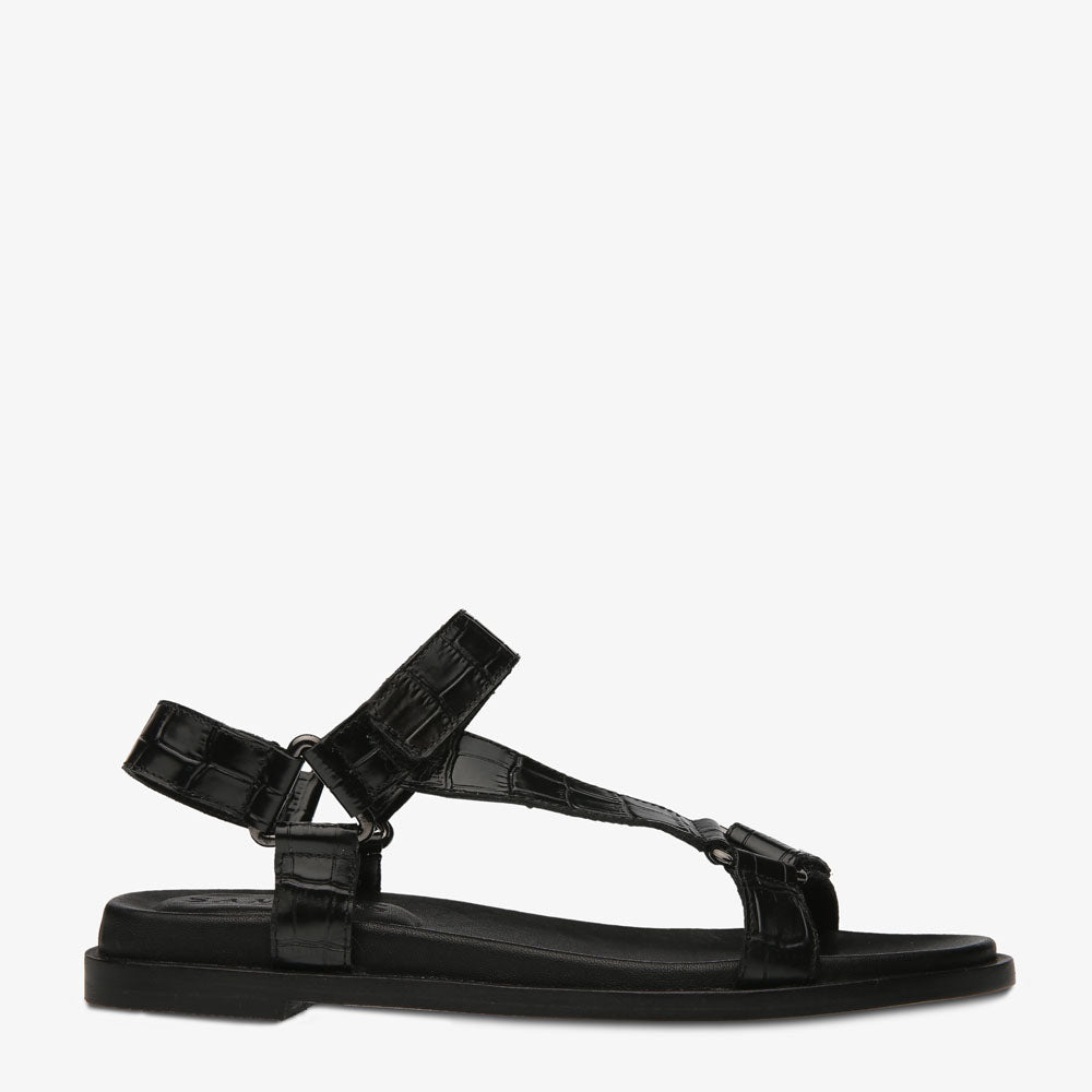Coco Black Croc Embossed Leather Sandal