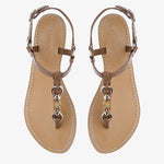 Heidi Tan Sandal with Bamboo detail