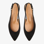 Holly Black Vegan Suede Sling-Back Flat