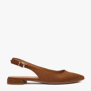 Holly Tan Vegan Suede Sling-Back Flat