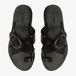 Georgia Leather Slide Sandal with Toe Detail