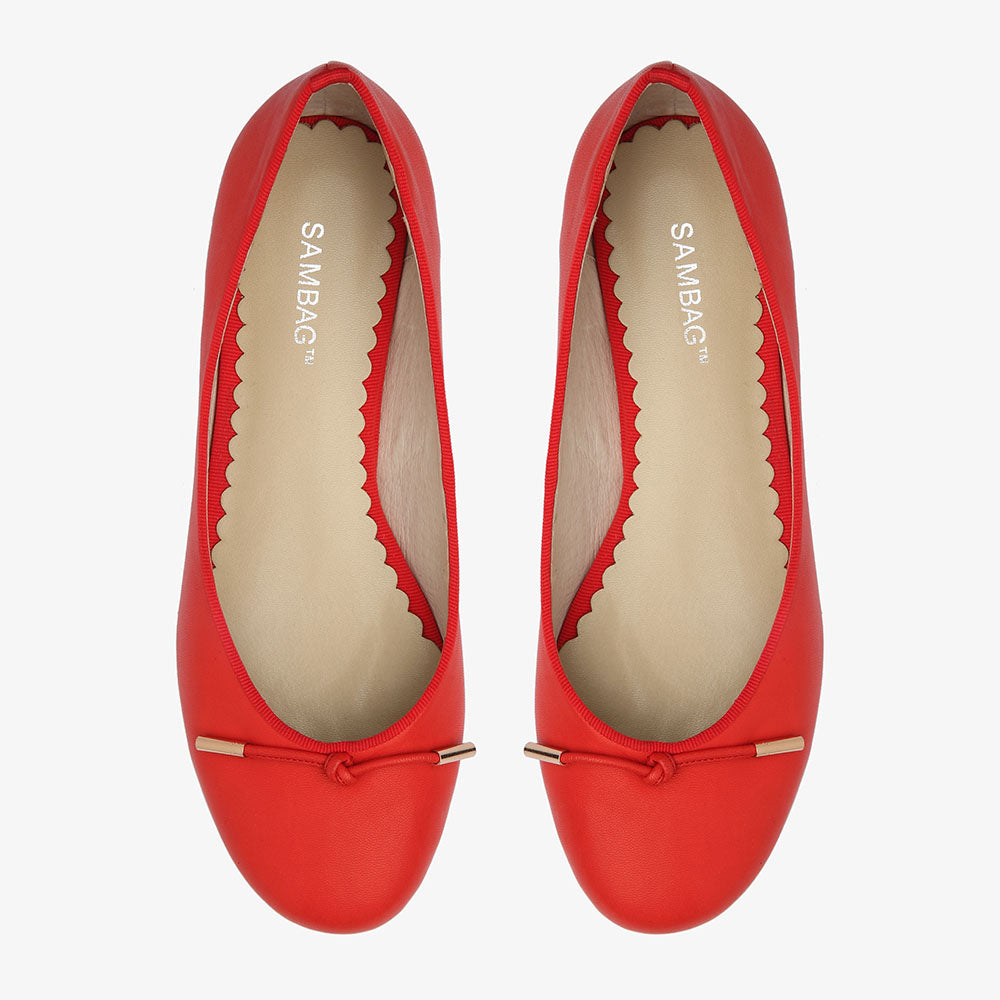 Grace Red Calf Leather Ballet