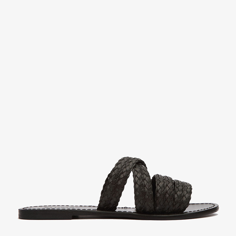 Phoebe Woven Leather Slide in Black