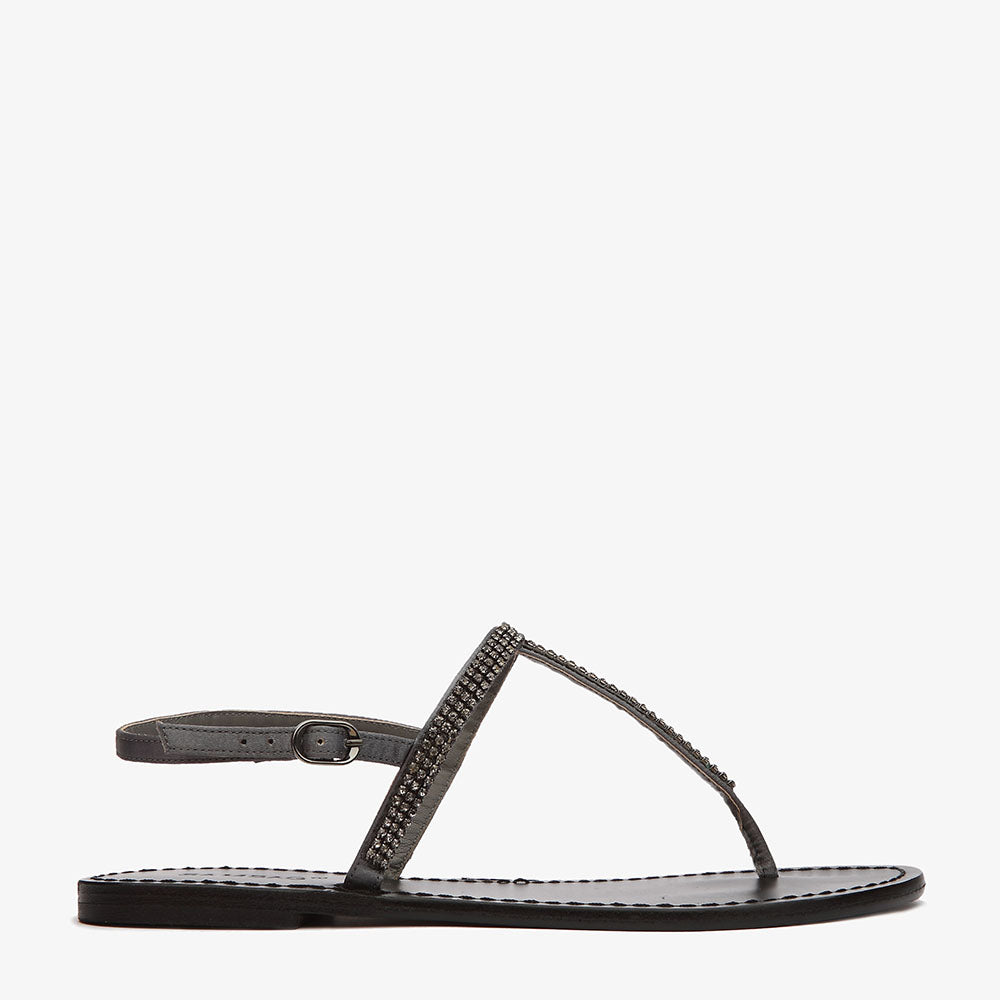 Paris Sandal pewter leather with diamante detail