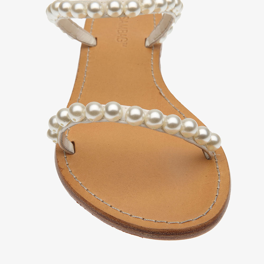 Alison slide sandal in satin with pearl detail