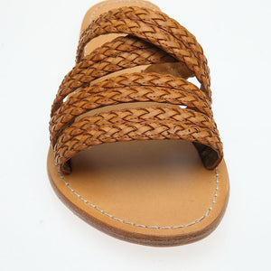 Phoebe Woven Leather Slide in Natural
