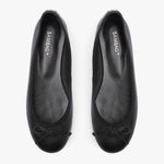 Natalie Black Leather Ballet Flat