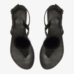 Paris Black leather Sandal with Pom Pom detail