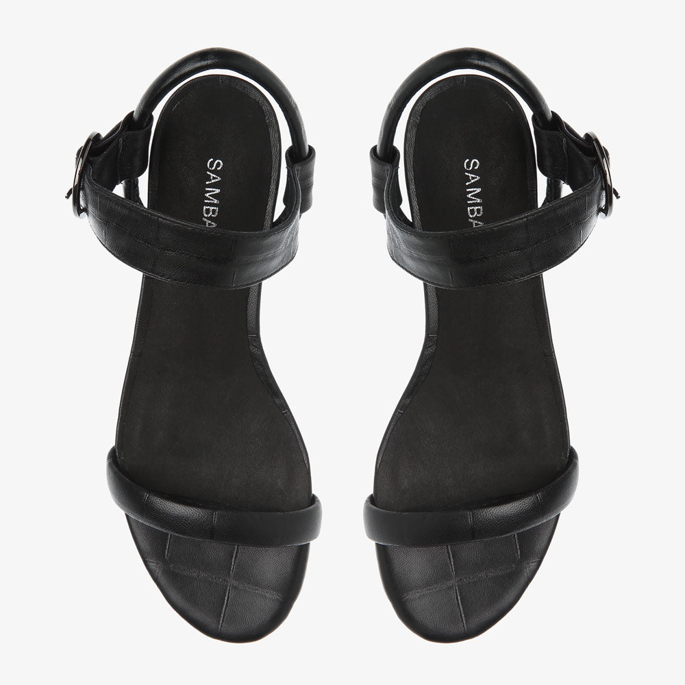 Penny Black Croc Leather Sandal