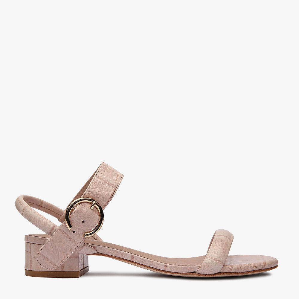 Penny Pink Croc Leather Sandal