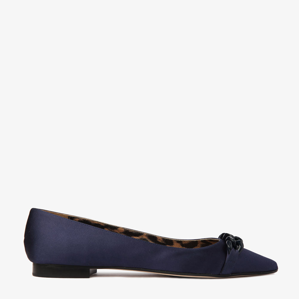 Poppy Navy Satin Pointed toe Flat