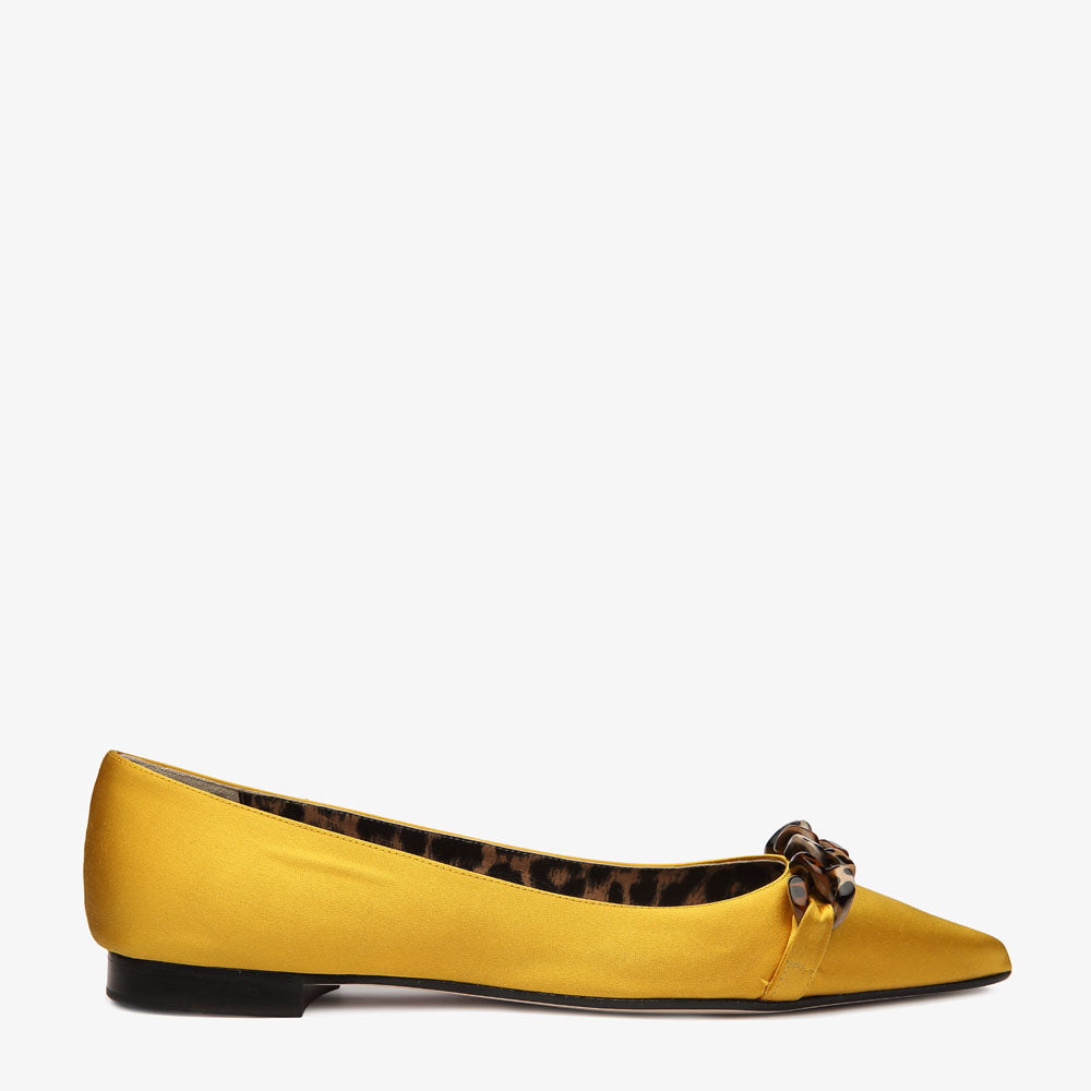 Poppy Yellow Satin Pointed Toe Flat