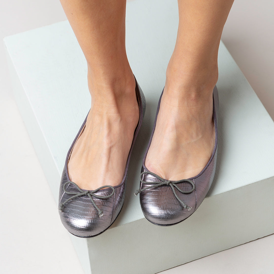 Tina Pewter embossed leather Ballet