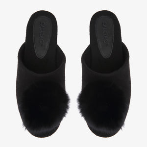 Tea Black Wool Slipper with Black Pom Pom