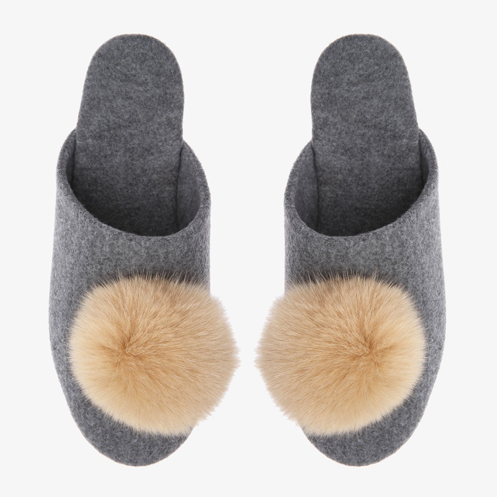 Tea Grey Slipper with Camel Pom Pom