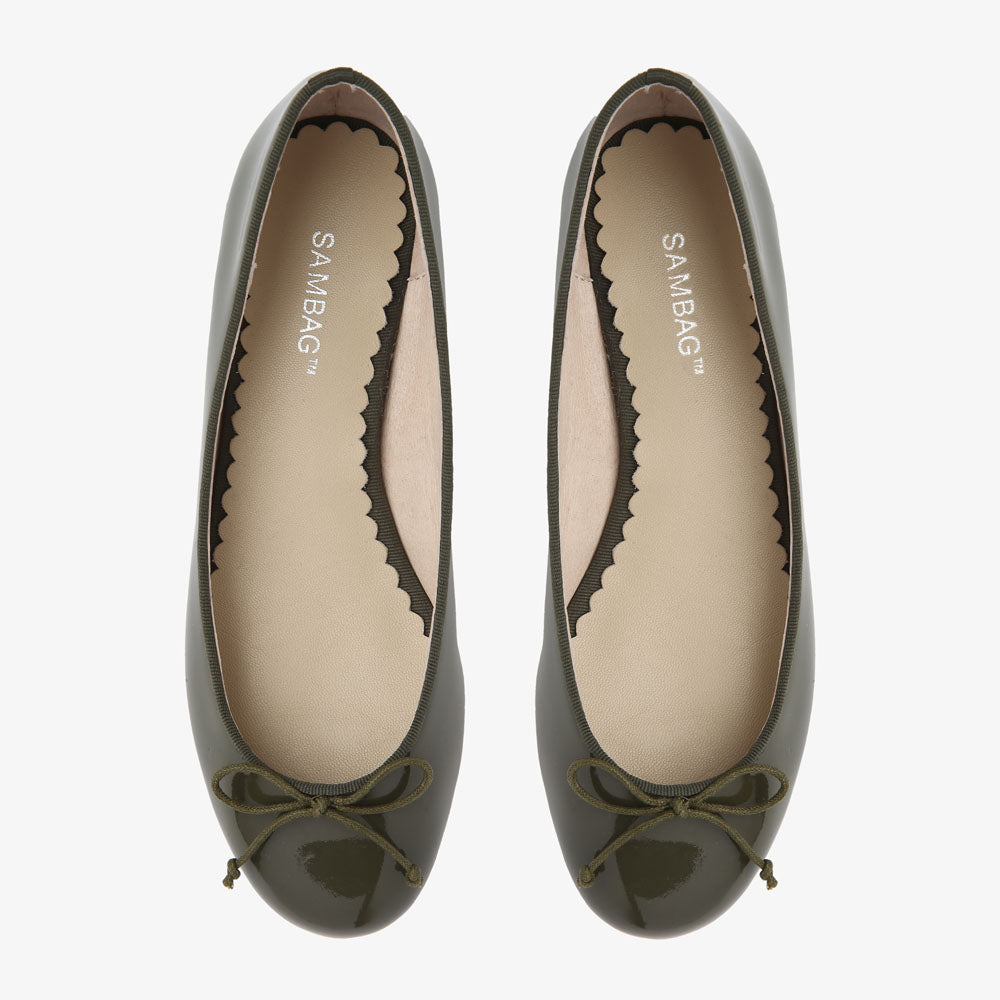 Tina Khaki Patent Leather Ballet Flat