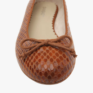 Tina Tan Pebble Embossed fabric Ballet Shoe
