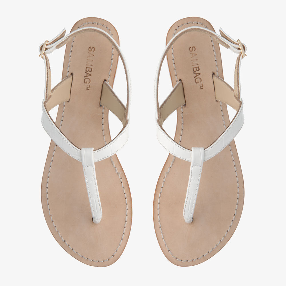 Heidi White Leather Sandal