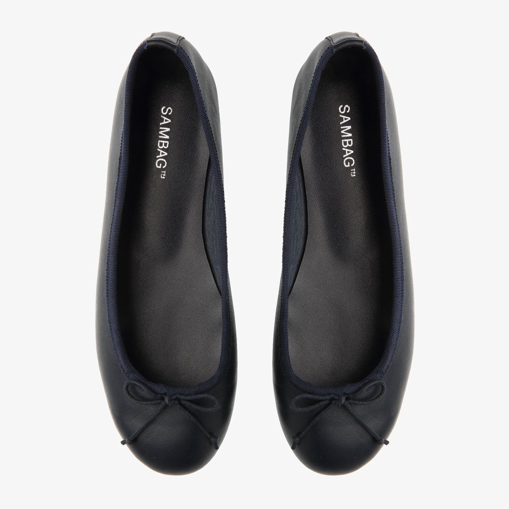Natalie Navy Leather Ballet Flat