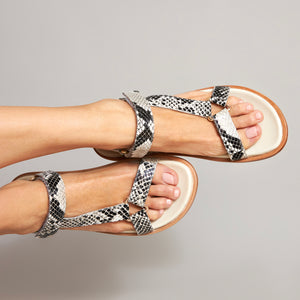 Coco Black & White Snake Leather Sandal