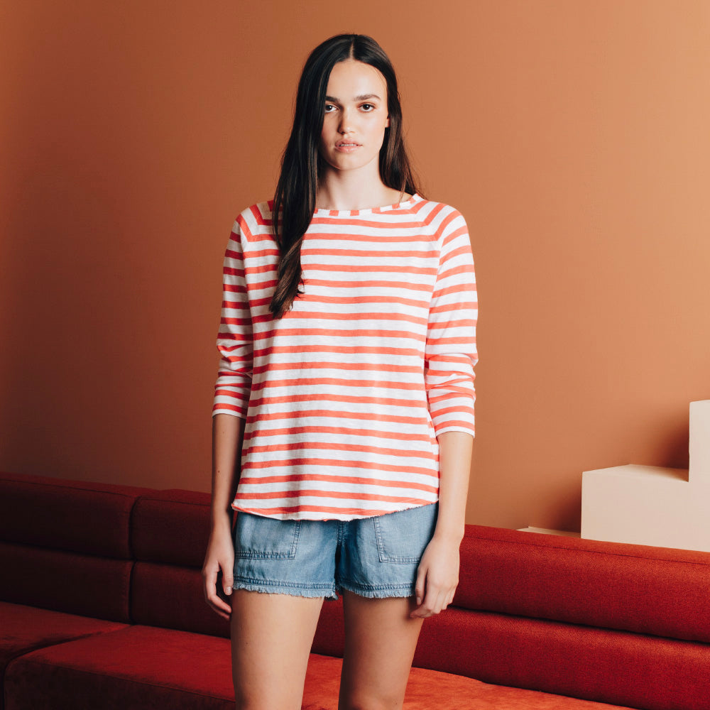 Coral Stripe Long Sleeve Jersey