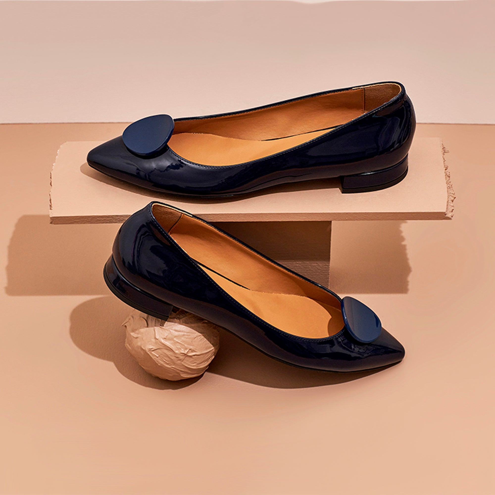 Elle Navy Patent Vegan Leather Flat