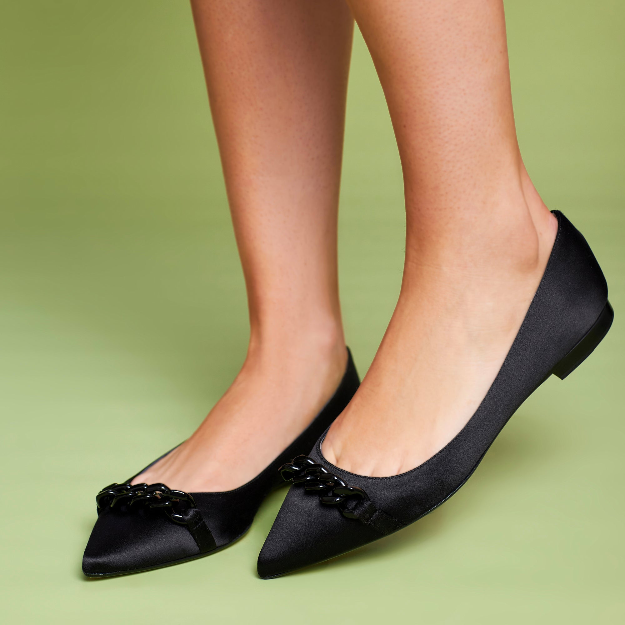 Poppy Black Satin Pointed Toe Flat