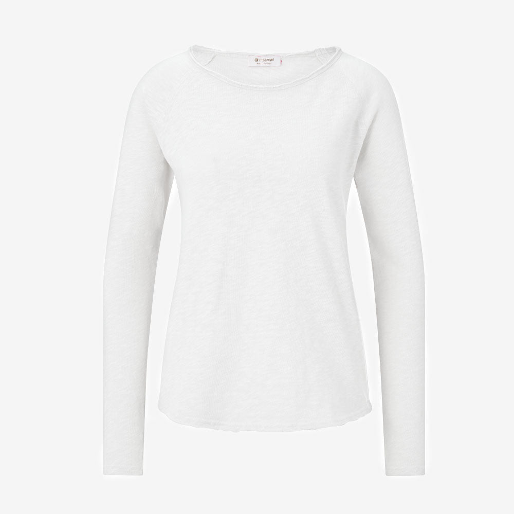 Jersey Long Sleeve Top in White