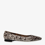 Sophia Brown Blush Embossed Snake Leather Flat
